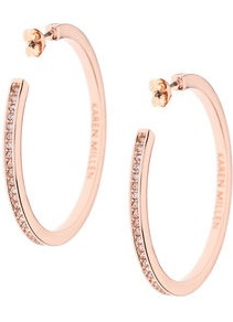 Large Hoop Earrings - predominant colour: gold; occasions: evening, occasion; style: hoop; length: mid; size: standard; material: chain/metal; fastening: pierced; finish: metallic; embellishment: crystals/glass; season: a/w 2016; wardrobe: event