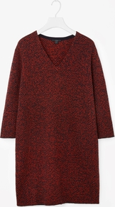 Jacquard Knit Dress - style: jumper dress; length: mid thigh; neckline: v-neck; predominant colour: burgundy; secondary colour: black; occasions: casual, creative work; fit: body skimming; fibres: wool - mix; sleeve length: 3/4 length; sleeve style: standard; texture group: knits/crochet; pattern type: knitted - other; pattern size: standard; pattern: marl; season: a/w 2016; wardrobe: highlight