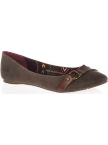 Tall Nini Flat Shoe At Long Tall Sally - predominant colour: chocolate brown; occasions: casual; material: faux leather; heel height: flat; embellishment: buckles; toe: pointed toe; style: ballerinas / pumps; finish: plain; pattern: plain; wardrobe: basic; season: a/w 2016