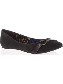 Tall Nini Flat Shoe At Long Tall Sally - predominant colour: black; occasions: casual; material: faux leather; heel height: flat; embellishment: buckles; toe: round toe; style: ballerinas / pumps; finish: plain; pattern: plain; wardrobe: basic; season: a/w 2016