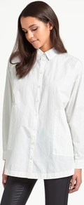 Long Shirt - neckline: shirt collar/peter pan/zip with opening; pattern: plain; length: below the bottom; style: shirt; predominant colour: white; occasions: casual; fibres: cotton - 100%; fit: loose; sleeve length: long sleeve; sleeve style: standard; texture group: cotton feel fabrics; pattern type: fabric; wardrobe: basic; season: a/w 2016