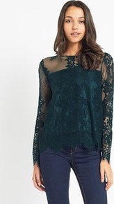 Long Sleeve Lace Top - predominant colour: teal; occasions: evening, occasion; length: standard; style: top; fibres: polyester/polyamide - stretch; fit: body skimming; neckline: crew; sleeve length: long sleeve; sleeve style: standard; texture group: lace; pattern type: fabric; pattern: patterned/print; embellishment: lace; pattern size: big & busy (top); season: a/w 2016; wardrobe: event