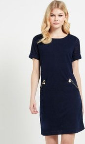 Knitted Dress - style: tunic; length: mid thigh; neckline: round neck; pattern: plain; hip detail: side pockets at hip; predominant colour: navy; occasions: casual, work, creative work; fit: body skimming; fibres: polyester/polyamide - mix; sleeve length: short sleeve; sleeve style: standard; texture group: knits/crochet; pattern type: knitted - fine stitch; wardrobe: basic; season: a/w 2016