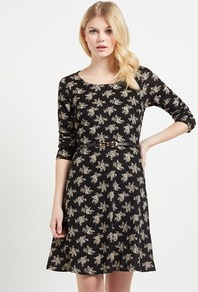 Floral Knit Belt Dress - neckline: round neck; waist detail: belted waist/tie at waist/drawstring; secondary colour: light grey; predominant colour: black; occasions: casual; length: just above the knee; fit: fitted at waist & bust; style: fit & flare; fibres: polyester/polyamide - stretch; sleeve length: 3/4 length; sleeve style: standard; pattern type: fabric; pattern: florals; texture group: jersey - stretchy/drapey; multicoloured: multicoloured; season: a/w 2016; wardrobe: highlight