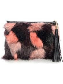 Faux Fur Clutch Bag - secondary colour: pink; predominant colour: black; occasions: evening; type of pattern: standard; style: clutch; length: hand carry; size: standard; material: faux fur; embellishment: tassels; pattern: two-tone; finish: plain; season: a/w 2016; wardrobe: event