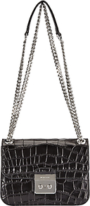Sloan Editor Medium Leather Chain Shoulder Bag, Black - secondary colour: silver; predominant colour: black; occasions: evening, occasion; type of pattern: standard; style: clutch; length: shoulder (tucks under arm); size: standard; material: leather; pattern: animal print; finish: patent; season: a/w 2016; wardrobe: event