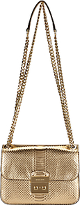 Sloan Editor Medium Leather Chain Shoulder Bag, Pale Gold - predominant colour: gold; occasions: evening, occasion; type of pattern: standard; style: clutch; length: shoulder (tucks under arm); size: standard; material: leather; pattern: plain; finish: metallic; season: a/w 2016; wardrobe: event