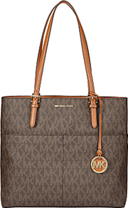 Michael Bedford Large Leather Pocket Tote Bag, Brown - secondary colour: tan; predominant colour: taupe; occasions: casual, work, creative work; type of pattern: standard; style: tote; length: shoulder (tucks under arm); size: standard; material: leather; pattern: monogram; finish: plain; embellishment: chain/metal; season: a/w 2016; wardrobe: highlight