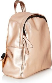 Topshop Exclusive Rose Gold Backpack By Skinnydip - predominant colour: gold; occasions: casual, creative work; type of pattern: standard; style: clutch; length: rucksack; size: standard; material: faux leather; pattern: plain; finish: metallic; season: a/w 2016; wardrobe: highlight