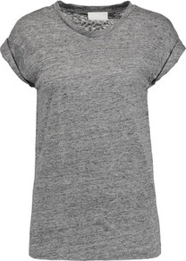 Slub Linen Jersey T Shirt Gray - neckline: round neck; sleeve style: capped; pattern: plain; style: t-shirt; predominant colour: mid grey; occasions: casual; length: standard; fibres: linen - 100%; fit: straight cut; sleeve length: short sleeve; pattern type: fabric; texture group: jersey - stretchy/drapey; wardrobe: basic; season: a/w 2016