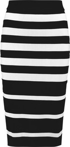 Striped Stretch Jersey Skirt Black - length: below the knee; pattern: striped; style: pencil; fit: tailored/fitted; waist: mid/regular rise; predominant colour: black; occasions: casual, creative work; texture group: jersey - clingy; pattern type: fabric; fibres: viscose/rayon - mix; season: a/w 2016; wardrobe: highlight