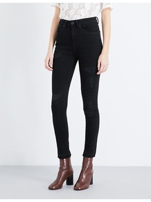 Psychic Skinny High Rise Jeans, Women's, Noir - style: skinny leg; length: standard; pattern: plain; waist: high rise; pocket detail: traditional 5 pocket; predominant colour: black; occasions: casual, creative work; fibres: cotton - stretch; texture group: denim; pattern type: fabric; wardrobe: basic; season: a/w 2016