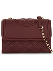 Fleming Small Convertible Leather Shoulder Bag, Women's, Port Royal - predominant colour: burgundy; occasions: casual, creative work; type of pattern: light; style: shoulder; length: shoulder (tucks under arm); size: small; material: leather; finish: plain; pattern: patterned/print; embellishment: chain/metal; season: a/w 2016; wardrobe: highlight