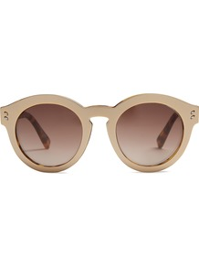Round Frame Acetate Sunglasses - predominant colour: nude; style: round; size: standard; material: plastic/rubber; pattern: plain; occasions: holiday; finish: plain; wardrobe: basic; season: a/w 2016