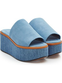 Suede And Denim Wedges Blue - predominant colour: denim; occasions: casual, holiday; material: suede; heel height: mid; heel: wedge; toe: open toe/peeptoe; style: standard; finish: plain; pattern: plain; shoe detail: platform; season: a/w 2016; wardrobe: highlight