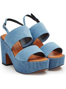 Suede And Denim Sandals Blue - predominant colour: denim; occasions: casual; material: suede; heel height: high; ankle detail: ankle strap; heel: block; toe: open toe/peeptoe; style: strappy; finish: plain; pattern: plain; shoe detail: platform; season: a/w 2016; wardrobe: highlight