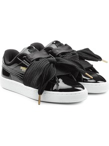 Sneakers With Patent Leather Black - predominant colour: black; occasions: casual; material: leather; heel height: flat; toe: round toe; style: trainers; finish: patent; pattern: plain; wardrobe: basic; season: a/w 2016