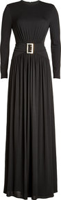 Floor Length Dress Black - pattern: plain; style: maxi dress; waist detail: belted waist/tie at waist/drawstring; predominant colour: black; occasions: evening; length: floor length; fit: body skimming; fibres: viscose/rayon - stretch; neckline: crew; hip detail: soft pleats at hip/draping at hip/flared at hip; sleeve length: long sleeve; sleeve style: standard; pattern type: fabric; texture group: jersey - stretchy/drapey; season: a/w 2016; wardrobe: event