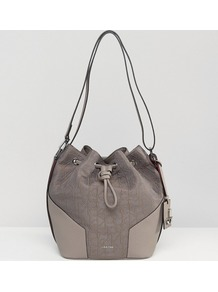 Logo Bucket Bag Cinder/Berry - predominant colour: mid grey; secondary colour: light grey; occasions: casual; type of pattern: standard; style: shoulder; length: shoulder (tucks under arm); size: standard; material: fabric; pattern: plain; finish: plain; wardrobe: investment; season: a/w 2016