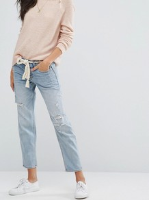 Destroyed Boyfriend Jeans Mid Wash Cc 279 - style: boyfriend; pattern: plain; waist: mid/regular rise; predominant colour: denim; occasions: casual; length: ankle length; fibres: cotton - 100%; texture group: denim; pattern type: fabric; jeans detail: rips; wardrobe: basic; season: a/w 2016