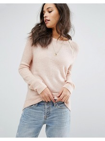 Crew Neck Knit Jumper Pink Cc602 - neckline: round neck; pattern: plain; style: standard; predominant colour: blush; occasions: casual, work, creative work; length: standard; fibres: acrylic - mix; fit: standard fit; sleeve length: long sleeve; sleeve style: standard; texture group: knits/crochet; pattern type: knitted - fine stitch; wardrobe: basic; season: a/w 2016