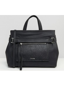 Ck Jeans Tote Bag Black - predominant colour: black; occasions: casual, work, creative work; type of pattern: standard; style: tote; length: handle; size: standard; material: faux leather; pattern: plain; finish: plain; wardrobe: investment; season: a/w 2016