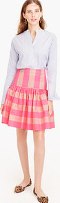 Taffeta Skirt In Neon Buffalo Check - pattern: checked/gingham; fit: loose/voluminous; waist: high rise; secondary colour: ivory/cream; predominant colour: pink; occasions: casual, creative work; length: on the knee; style: a-line; fibres: polyester/polyamide - 100%; hip detail: structured pleats at hip; pattern type: fabric; texture group: woven light midweight; season: a/w 2016; wardrobe: highlight