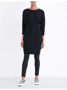 Oversized Wool And Cashmere Blend Jumper Dress, Women's, Black - style: jumper dress; fit: loose; pattern: plain; predominant colour: black; occasions: casual; length: just above the knee; fibres: wool - mix; neckline: crew; sleeve length: 3/4 length; sleeve style: standard; texture group: knits/crochet; pattern type: fabric; wardrobe: basic; season: a/w 2016