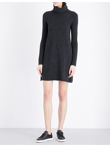 Turtleneck Wool And Cashmere Blend Dress, Women's, Darkcharcmarl - style: jumper dress; length: mid thigh; fit: loose; pattern: plain; neckline: roll neck; predominant colour: charcoal; occasions: casual; fibres: wool - mix; sleeve length: long sleeve; sleeve style: standard; texture group: knits/crochet; pattern type: knitted - fine stitch; wardrobe: basic; season: a/w 2016