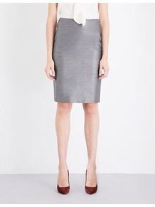 Leale Wool And Silk Blend Pencil Skirt, Women's, Grey - pattern: plain; style: pencil; fit: tailored/fitted; waist: mid/regular rise; predominant colour: light grey; occasions: work; length: on the knee; fibres: wool - mix; pattern type: fabric; texture group: woven light midweight; wardrobe: basic; season: a/w 2016