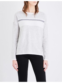 Colour Block Wool And Cashmere Blend Jumper, Women's, Pale Grey Marl - neckline: round neck; pattern: striped; style: standard; predominant colour: light grey; occasions: casual, work, creative work; length: standard; fibres: wool - mix; fit: standard fit; sleeve length: long sleeve; sleeve style: standard; texture group: knits/crochet; pattern type: knitted - fine stitch; pattern size: light/subtle; season: a/w 2016; wardrobe: highlight
