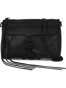 Mini Mac Leather Shoulder Bag, Women's, Black - predominant colour: black; occasions: casual, work, creative work; type of pattern: standard; style: shoulder; length: across body/long; size: standard; material: leather; pattern: plain; finish: plain; wardrobe: investment; season: a/w 2016