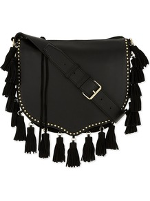 Tassel Leather Saddle Bag, Women's, Black - predominant colour: black; occasions: casual, creative work; type of pattern: standard; style: saddle; length: across body/long; size: standard; material: leather; embellishment: tassels; pattern: plain; finish: plain; wardrobe: basic; season: a/w 2016