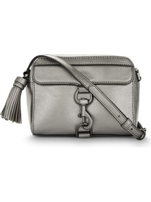 Leather Camera Bag, Women's, Grey - predominant colour: light grey; occasions: casual, creative work; type of pattern: standard; style: shoulder; length: shoulder (tucks under arm); size: standard; material: leather; embellishment: tassels; pattern: plain; finish: metallic; wardrobe: investment; season: a/w 2016