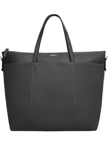 Faux Leather Shopper Bag - predominant colour: black; occasions: casual, creative work; type of pattern: standard; style: tote; length: handle; size: standard; material: faux leather; pattern: plain; finish: plain; wardrobe: investment; season: a/w 2016