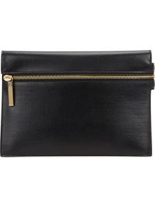 Small Black Leather Clutch - secondary colour: gold; predominant colour: black; occasions: evening, occasion; type of pattern: standard; style: clutch; length: hand carry; size: standard; material: leather; embellishment: zips; pattern: plain; finish: plain; season: a/w 2016; wardrobe: event