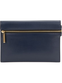 Small Navy Leather Clutch - predominant colour: navy; secondary colour: gold; occasions: evening, occasion; type of pattern: standard; style: clutch; length: hand carry; size: standard; material: leather; embellishment: zips; pattern: plain; finish: plain; season: a/w 2016; wardrobe: event