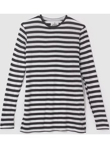 Road Top Cage Stripe T Shirt - pattern: horizontal stripes; style: t-shirt; secondary colour: white; predominant colour: black; occasions: casual; length: standard; fibres: cotton - 100%; fit: body skimming; neckline: crew; sleeve length: long sleeve; sleeve style: standard; texture group: cotton feel fabrics; pattern type: fabric; multicoloured: multicoloured; wardrobe: basic; season: a/w 2016