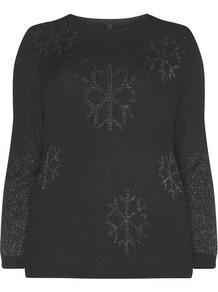 Glitter Snowflake Jumper - style: standard; predominant colour: black; occasions: casual; length: standard; fit: standard fit; neckline: crew; sleeve length: long sleeve; sleeve style: standard; pattern type: fabric; pattern: patterned/print; texture group: jersey - stretchy/drapey; fibres: viscose/rayon - mix; embellishment: glitter; season: a/w 2016; wardrobe: highlight; trends: festive knits