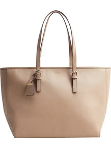 Saffiano Effect Shopper Bag - predominant colour: nude; occasions: casual, creative work; type of pattern: standard; style: tote; length: handle; size: standard; material: leather; pattern: plain; finish: plain; wardrobe: investment; season: a/w 2016