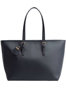 Saffiano Effect Shopper Bag - predominant colour: navy; occasions: casual, creative work; type of pattern: standard; style: tote; length: handle; size: standard; material: leather; pattern: plain; finish: plain; wardrobe: investment; season: a/w 2016