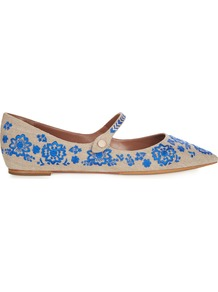 Hermione Point Toe Embroidered Flats - predominant colour: diva blue; occasions: casual, creative work; material: fabric; heel height: flat; embellishment: embroidered; toe: pointed toe; style: ballerinas / pumps; finish: plain; pattern: plain; season: a/w 2016; wardrobe: highlight