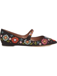 Hermione Point Toe Embroidered Flats - predominant colour: black; occasions: casual, creative work; material: fabric; heel height: flat; embellishment: embroidered; toe: pointed toe; style: ballerinas / pumps; finish: plain; pattern: plain; multicoloured: multicoloured; wardrobe: basic; season: a/w 2016