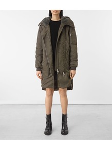Oren Parka - pattern: plain; collar: funnel; fit: loose; style: parka; back detail: hood; length: mid thigh; predominant colour: khaki; occasions: casual; fibres: cotton - mix; sleeve length: long sleeve; sleeve style: standard; texture group: cotton feel fabrics; collar break: high; pattern type: fabric; wardrobe: basic; season: a/w 2016