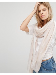 Ck Jeans Scarf With Painted Edge Detail Beach/White - predominant colour: ivory/cream; occasions: casual, creative work; type of pattern: standard; style: regular; size: standard; material: fabric; pattern: plain; wardrobe: basic; season: a/w 2016