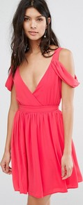 Cowl Shoulder Mini Dress Coral - length: mini; neckline: low v-neck; sleeve style: standard vest straps/shoulder straps; pattern: plain; back detail: back revealing; predominant colour: coral; occasions: evening; fit: fitted at waist & bust; style: fit & flare; fibres: polyester/polyamide - 100%; sleeve length: sleeveless; pattern type: fabric; pattern size: standard; texture group: woven light midweight; season: a/w 2016; wardrobe: event
