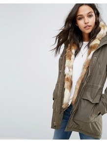 Twill Faux Fur Lined Parka Brown - length: below the bottom; bust detail: added detail/embellishment at bust; fit: loose; style: parka; back detail: hood; collar: high neck; secondary colour: camel; predominant colour: khaki; occasions: casual; fibres: cotton - mix; sleeve length: long sleeve; sleeve style: standard; texture group: cotton feel fabrics; collar break: high; pattern type: fabric; pattern size: standard; pattern: patterned/print; embellishment: fur; season: a/w 2016; wardrobe: highlight