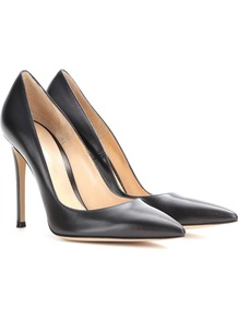 Gianvito 105 Leather Pumps - predominant colour: black; occasions: evening, work, occasion; material: leather; heel height: high; heel: stiletto; toe: pointed toe; style: courts; finish: plain; pattern: plain; wardrobe: investment; season: a/w 2016