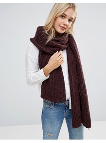 Oversized Chunky Knitted Scarf Deep Plum Combo - predominant colour: burgundy; occasions: casual, creative work; type of pattern: standard; style: regular; size: standard; material: knits; pattern: plain; season: a/w 2016; wardrobe: highlight