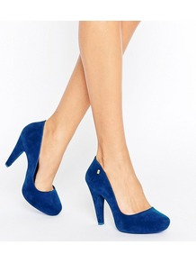 High Heel Court Shoe Blue Flock - predominant colour: royal blue; occasions: evening, occasion; material: suede; heel height: high; heel: cone; toe: round toe; style: courts; finish: plain; pattern: plain; season: a/w 2016; wardrobe: event